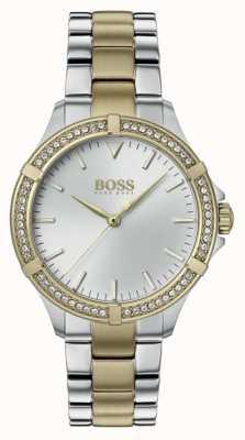 BOSS | женский мини спорт | двухцветный стальной браслет | серебряный циферблат 1502467