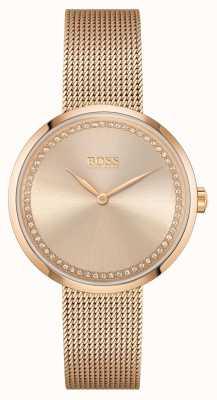 BOSS   похвала женщин браслет из сетки из розового золота   роза циферблат 1502548