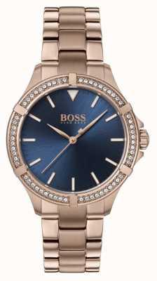 BOSS | женский мини спорт | браслет из розового золота | синий циферблат 1502468