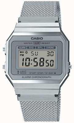 Casio | винтаж | браслет из стальной сетки | секундомер | светодиодная подсветка A700WEM-7AEF