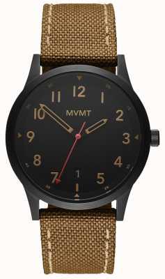 MVMT | поле | коричневый ремешок из холщовой ткани | черный циферблат 28000017-D