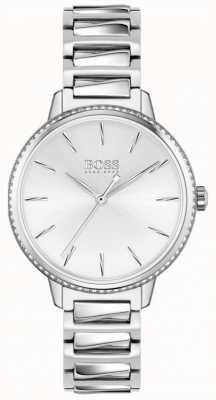 BOSS   женская подпись   браслет из нержавеющей стали   серебряный циферблат 1502539