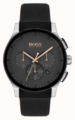 BOSS | мужская вершина | черный силиконовый ремешок | черный циферблат 1513759