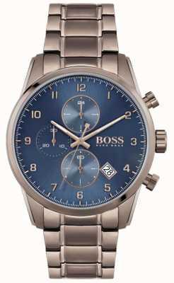 BOSS | мужской небесный мастер | коричневый браслет с ионным покрытием | синий циферблат 1513788