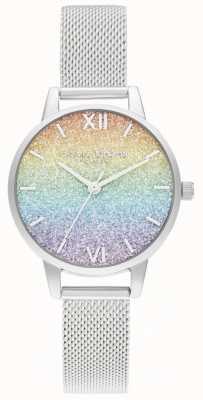 Olivia Burton Женский серебряный браслет-сетка | разноцветный циферблат с блестками OB16GD69