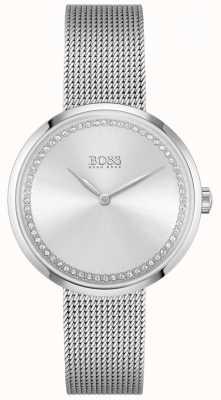 BOSS Хвала   женский стальной браслет-сетка   серебряный хрустальный циферблат 1502546