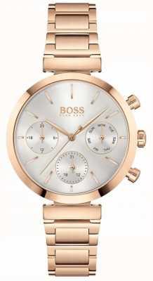 BOSS Безупречный | женский браслет из розового золота | серебряный циферблат 1502531