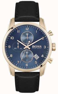 BOSS Skymaster | мужской черный кожаный ремешок | синий циферблат 1513783