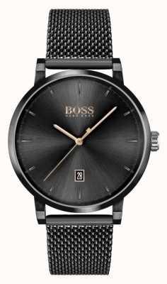 BOSS | мужская уверенность | черный сетчатый браслет | черный циферблат 1513810