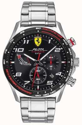 Scuderia Ferrari | мужская пилота эво | браслет из нержавеющей стали | черный циферблат 0830720