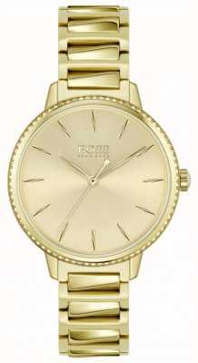 BOSS | женская подпись | позолоченный стальной браслет | золотой циферблат 1502541