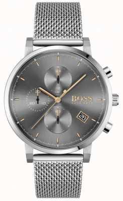BOSS | мужская честность | браслет из стальной сетки | серый / черный циферблат 1513807