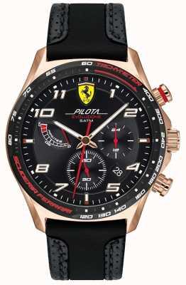 Scuderia Ferrari | мужская пилота | черный кожаный / силиконовый ремешок | черный циферблат 0830718