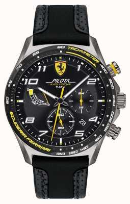 Scuderia Ferrari | мужская пилота | черный силиконовый / кожаный ремешок | черный циферблат 0830719