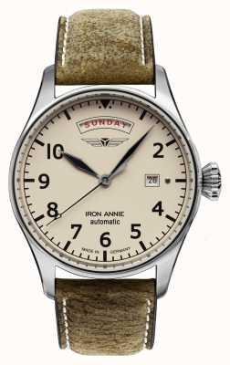 Iron Annie Автоматическое управление полетом | коричневый кожаный ремешок | бежевый циферблат 5164-3