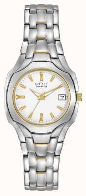 Citizen Женский двухцветный с белым циферблатом eco-drive EW1254-53A
