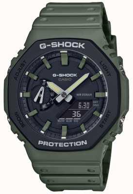 Casio G-шок | углеродное ядро | зеленый резиновый ремешок | цифровой дисплей GA-2110SU-3AER