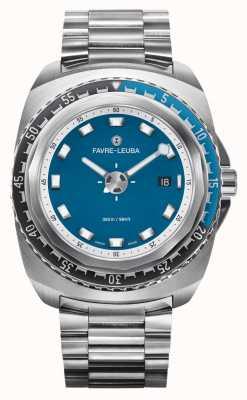 Favre Leuba Рейдер темно-синий 44 | браслет из нержавеющей стали | синий циферблат | 00.10102.08.52.20
