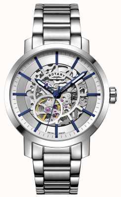 Rotary Гринвич автоматический | браслет из нержавеющей стали | серебряный циферблат GB05350/06