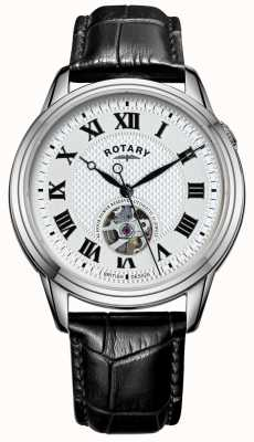 Rotary Кембридж автомат | черный кожаный ремешок | серебряный циферблат GS05365/70