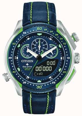 Citizen Promaster sst | мировое время | синий кожаный ремешок JW0138-08L