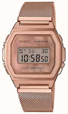 Casio Винтажный браслет с подсветкой из розового золота A1000MPG-9EF