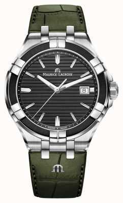 Maurice Lacroix Айкон кварц | зеленый кожаный ремешок | черный циферблат AI1008-PVB21-330-1