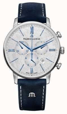 Maurice Lacroix Элирос хронограф | синий кожаный ремешок | серебряный циферблат EL1098-SS001-114-1