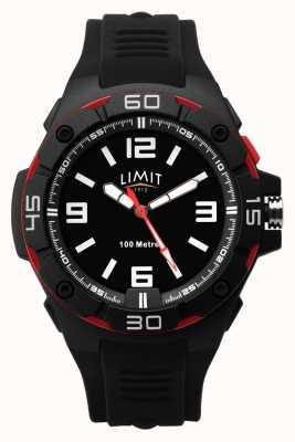 Limit | мужской черный резиновый ремешок | черный циферблат | красный / черный ободок 5789.65