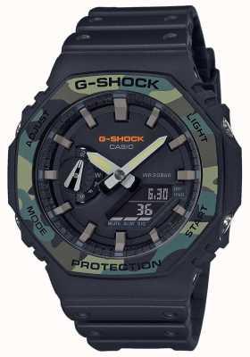 Casio G-шок | многослойный безель | черный каучуковый ремешок | углеродный чехол GA-2100SU-1AER