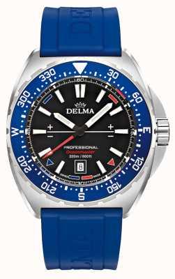 Delma Oceanmaster кварц | синий резиновый ремешок | черный циферблат 41501.676.6.048