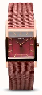 Bering Женская классика | полированное розовое золото | браслет из красной сетки 10426-363-S