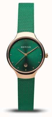 Bering Женская классика | зеленый сетчатый ремешок | полированное розовое золото 13326-868