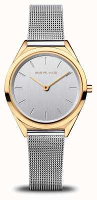 Bering Женская ультратонкая | браслет из серебряной сетки | полированное золото 17031-010