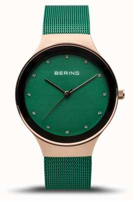 Bering Женская классика | полированное розовое золото | зеленый сетчатый ремешок | 12934-868