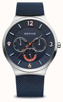 Bering Мужская классика | матовое серебро | синий сетчатый ремешок | синий циферблат 33441-307
