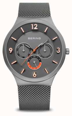 Bering Мужская классика | матовый серый | серый сетчатый ремень | 33441-377