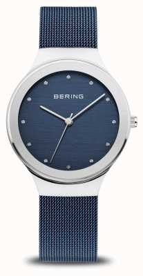 Bering Женская классика | полированное серебро | синий сетчатый ремешок 12934-307