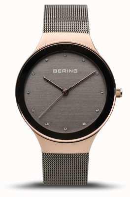 Bering Женская классика | полированное розовое золото | серый сетчатый ремешок 12934-369