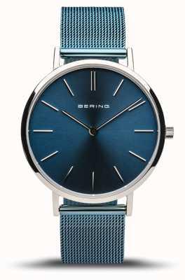 Bering Женская классика | полированное серебро | синий сетчатый браслет 14134-308
