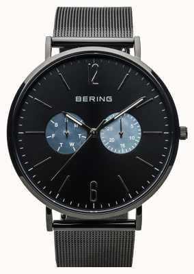 Bering Унисекс классик | полированный черный | черный сетчатый ремешок 14240-123