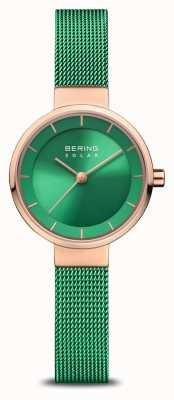 Bering Женская благотворительность | полированная / матовая роза | зеленый сетчатый ремешок 14627-CHARITY