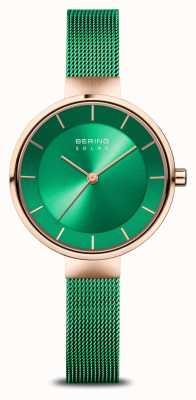 Bering Женская благотворительность | полированное / матовое розовое золото | зеленая сетка 14631-CHARITY