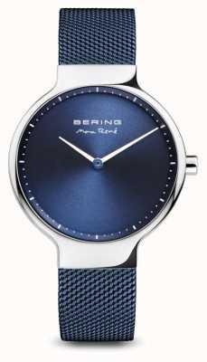 Bering Макс рене | полированное серебро | синий сетчатый ремешок 15531-307