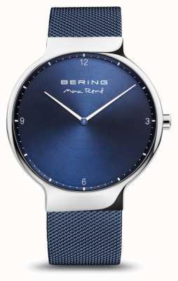 Bering Макс рене | полированное серебро | синий сетчатый ремешок 15540-307