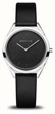 Bering Женская ультратонкая | полированное серебро | черный кожаный ремешок 17031-402