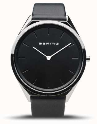 Bering Ультра-тонкий | полированное серебро | черный кожаный ремешок 17039-402