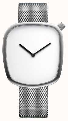 Bering Классический | галька | матовое серебро | квадратный циферблат | серебряная сетка 18040-004