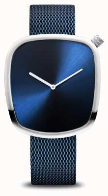 Bering Классический | галька | матовый синий | квадратный циферблат | синяя сетка 18040-307