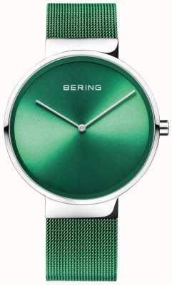 Bering Классический | зеленый сетчатый ремешок | зеленый циферблат 14539-808